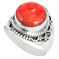 Natural red sponge coral 925 sterling silver ring jewelry size 8 k87005