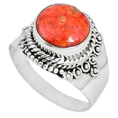 925 sterling silver natural red sponge coral round ring jewelry size 9 k87006