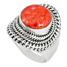 Natural red sponge coral 925 sterling silver ring jewelry size 7 k87007