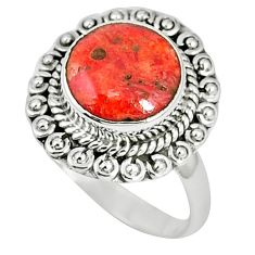 Natural red sponge coral 925 sterling silver ring jewelry size 8.5 k87008