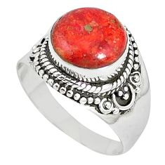 925 sterling silver natural red sponge coral round ring jewelry size 9 k87010