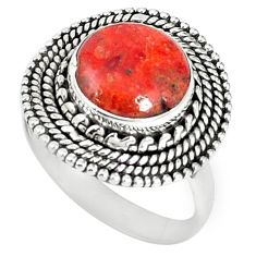 Natural red sponge coral 925 sterling silver ring jewelry size 8 k87011