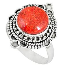 Natural red sponge coral 925 sterling silver ring jewelry size 8.5 k87015