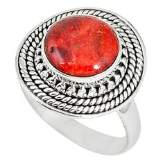 925 sterling silver natural red sponge coral ring jewelry size 7.5 k87016