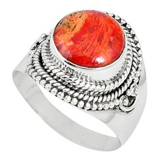 Natural red sponge coral 925 sterling silver ring jewelry size 8 k87017