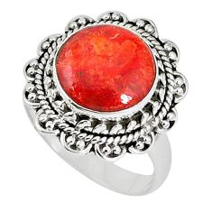 Natural red sponge coral 925 sterling silver ring jewelry size 7 k87019