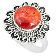 925 sterling silver natural red sponge coral round ring jewelry size 7 k87020