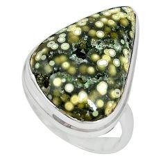 Ocean druzy fancy shape 925 sterling silver ring jewelry size 9 k87402