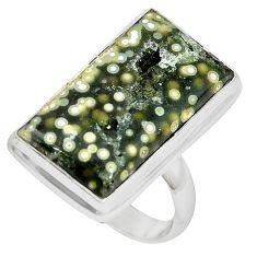 Ocean druzy baguette 925 sterling silver ring jewelry size 7 k87403