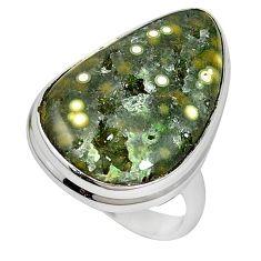 Ocean druzy fancy shape 925 sterling silver ring jewelry size 7 k87404
