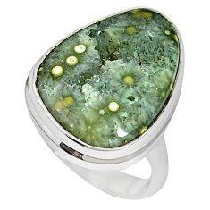 Ocean druzy fancy shape 925 sterling silver ring jewelry size 6 k87406