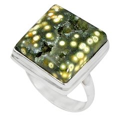 Ocean druzy square 925 sterling silver ring jewelry size 7 k87418