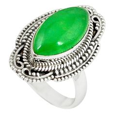 Green jade marquise shape 925 sterling silver ring jewelry size 7 k89845