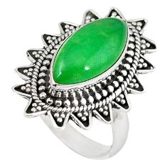 Green jade marquise shape 925 sterling silver ring jewelry size 8 k89870