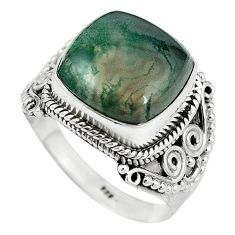 Natural green moss agate 925 sterling silver ring jewelry size 9 k93042