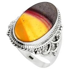 Natural brown mookaite oval 925 sterling silver ring jewelry size 9 k93045