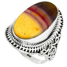 Natural brown mookaite 925 sterling silver ring jewelry size 8 k93049