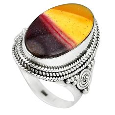 Natural brown mookaite 925 sterling silver ring jewelry size 8.5 k93050