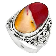 Natural brown mookaite 925 sterling silver ring jewelry size 7.5 k93052