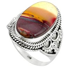 925 sterling silver natural brown mookaite oval ring jewelry size 9.5 k93053