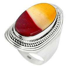 Natural brown mookaite 925 sterling silver ring jewelry size 7.5 k93054