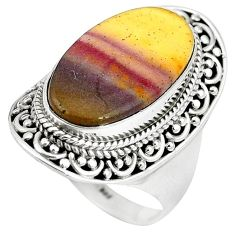 Natural brown mookaite 925 sterling silver ring jewelry size 9 k93055