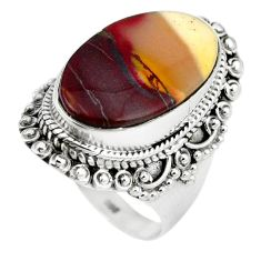 925 sterling silver natural brown mookaite oval ring jewelry size 7.5 k93060