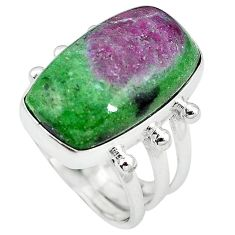 Natural pink ruby zoisite 925 sterling silver ring jewelry size 9 k95660