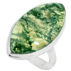 Natural green moss agate 925 sterling silver ring jewelry size 9 k95733