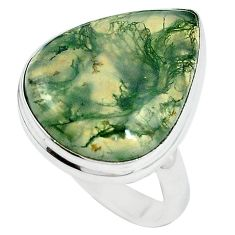Natural green moss agate 925 sterling silver ring jewelry size 7 k95737