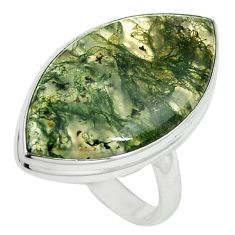 925 sterling silver natural green moss agate marquise ring jewelry size 9 k95740