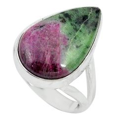 Natural pink ruby zoisite 925 sterling silver ring jewelry size 8 k95749