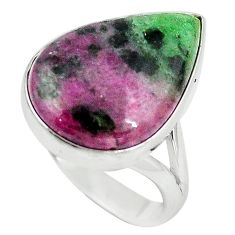 Natural pink ruby zoisite 925 sterling silver ring jewelry size 9 k95762