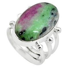 Natural pink ruby zoisite 925 sterling silver ring jewelry size 7.5 k95777