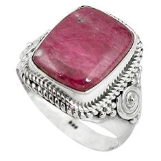 Natural pink ruby zoisite 925 sterling silver ring jewelry size 8.5 k95846