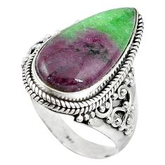 Natural pink ruby zoisite pear 925 sterling silver ring size 10 k95855