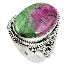 Natural pink ruby zoisite 925 sterling silver ring jewelry size 8 k95875
