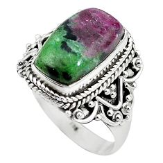 Natural pink ruby zoisite 925 sterling silver ring jewelry size 9 k95879