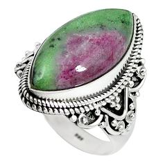 Natural pink ruby zoisite 925 sterling silver ring jewelry size 9 k95895