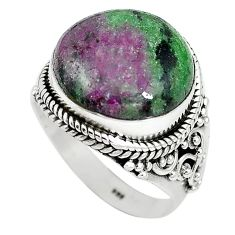 Natural pink ruby zoisite 925 sterling silver ring jewelry size 9 k95896