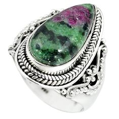 925 sterling silver natural pink ruby zoisite pear ring size 8.5 k95897