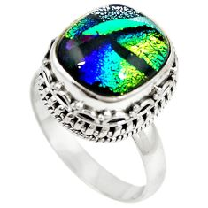 Multi color dichroic glass 925 sterling silver solitaire ring size 8.5 m11225
