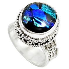 Multi color dichroic glass 925 sterling silver solitaire ring size 8 m11233