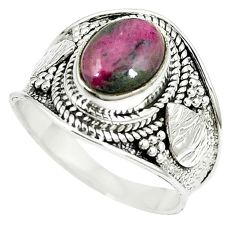 925 sterling silver natural pink ruby zoisite solitaire ring size 8 m12785