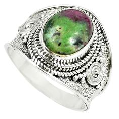 Natural green ruby zoisite 925 sterling silver solitaire ring size 8.5 m12788