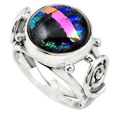 Multi color dichroic glass 925 sterling silver ring jewelry size 6 m14307