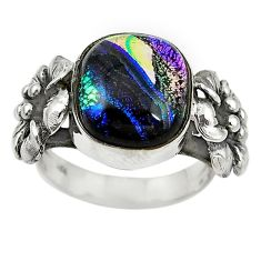 Multi color dichroic glass 925 silver flower ring jewelry size 6.5 m14342