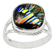 Multi color dichroic glass 925 sterling silver ring jewelry size 8 m14399