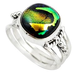 Multi color dichroic glass 925 sterling silver ring jewelry size 9.5 m14417