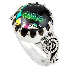 Multi color dichroic glass 925 sterling silver ring jewelry size 6.5 m14447